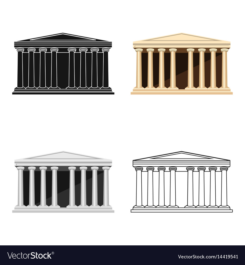 Antique greek temple icon in cartoon style