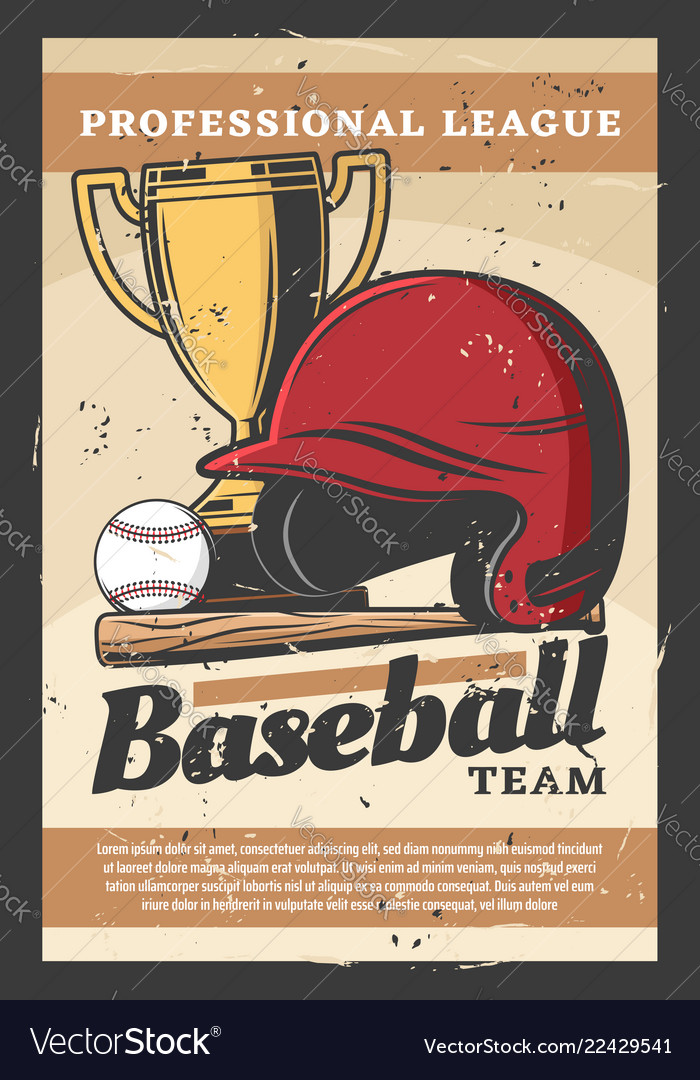 Baseball sport helmet bat ball and trophy