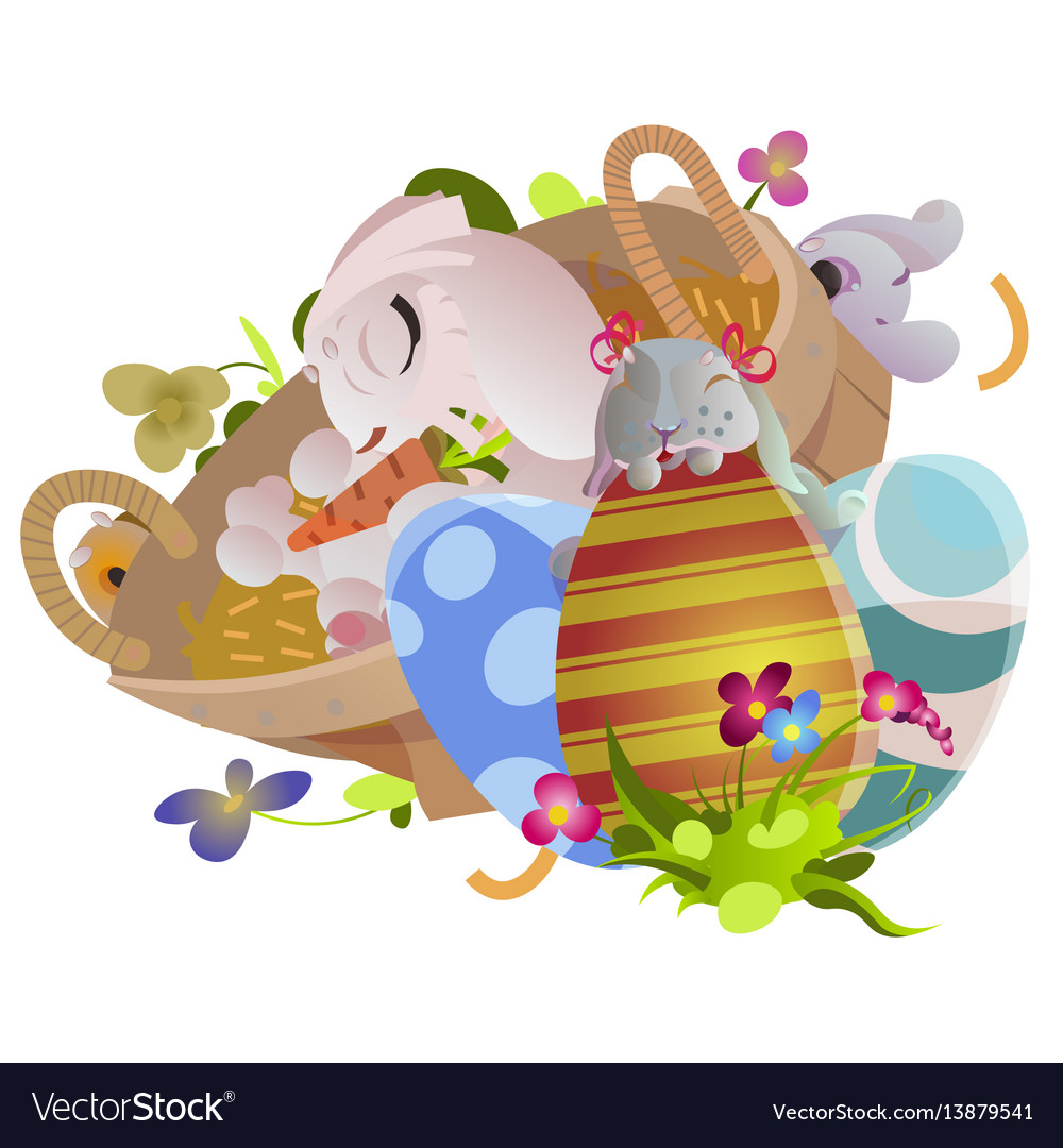 Basket decorated easter eggs on green grass for