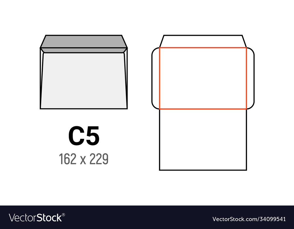 C5 envelope mockup a5 white template cut size