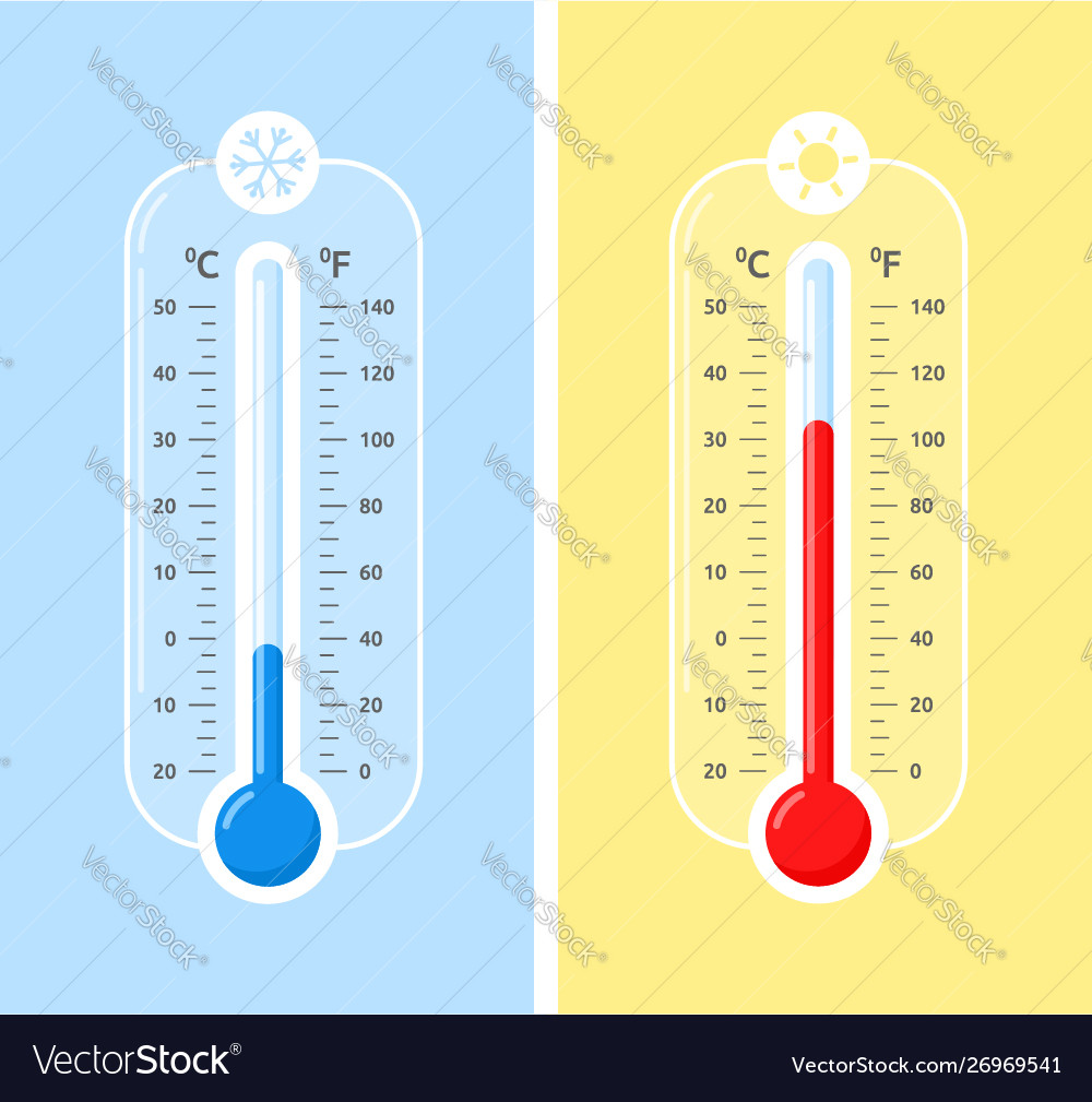 Celsius and fahrenheit meteorology thermometers
