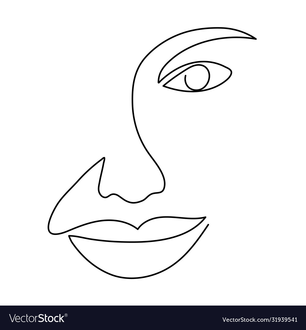 Continuous line drawing woman face abstract
