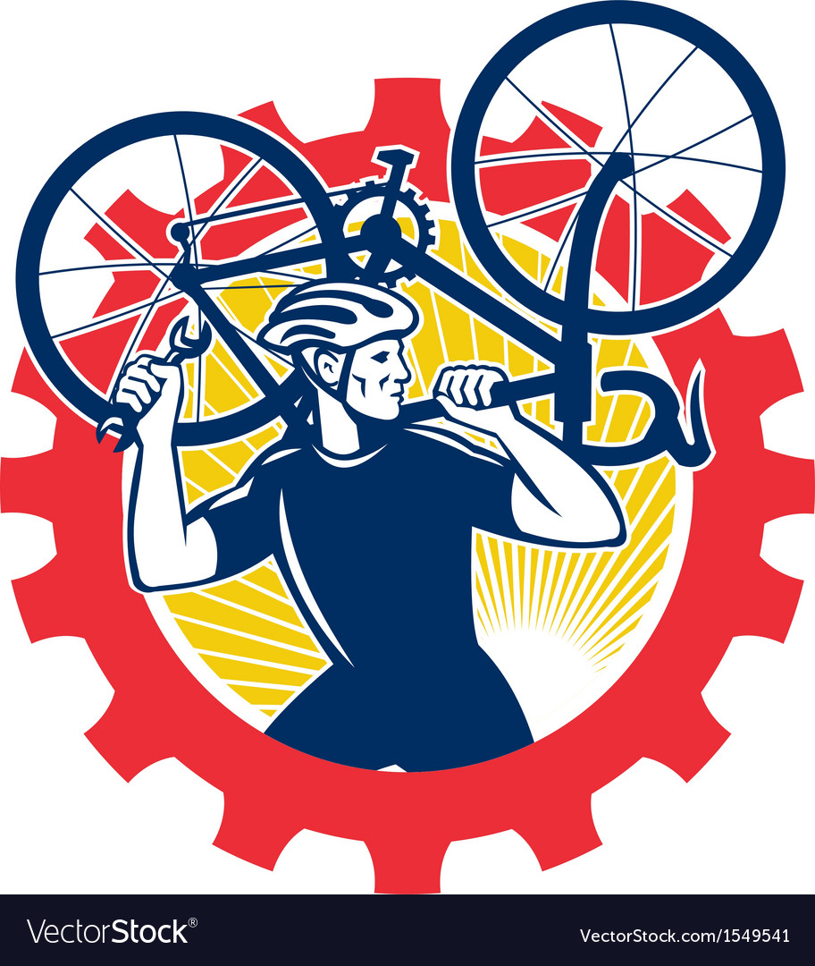 Cyclist Bicycle Mechanic Carrying Bike Sprocket vector image