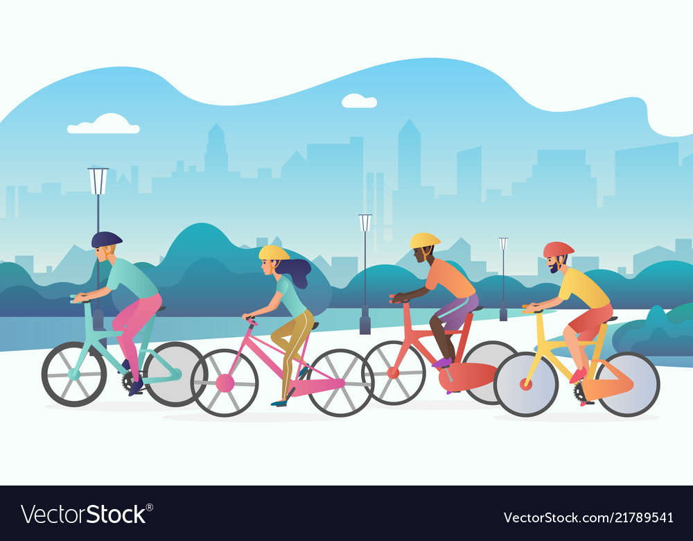 Cyclists sport people riding bicycles in public