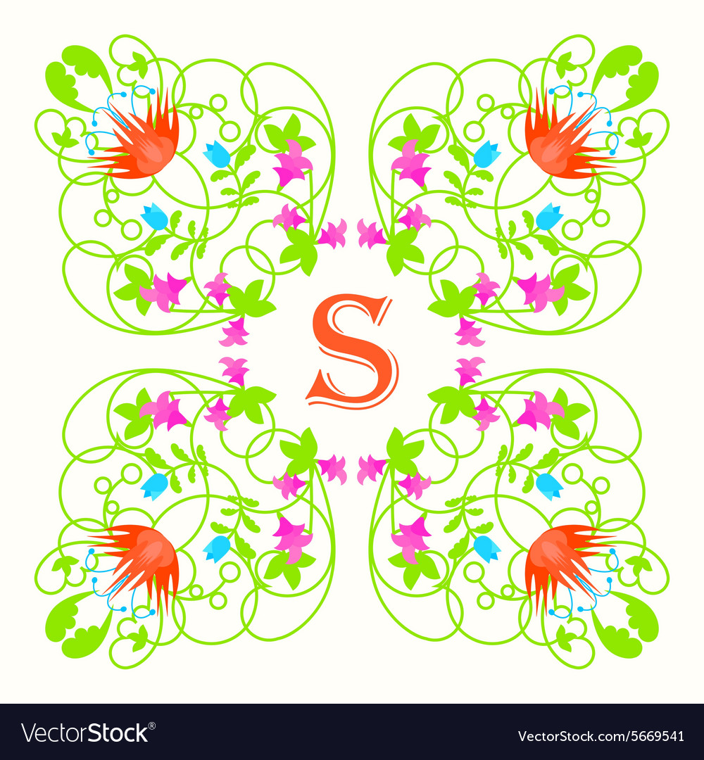 Floral monogram with letter s on white Green