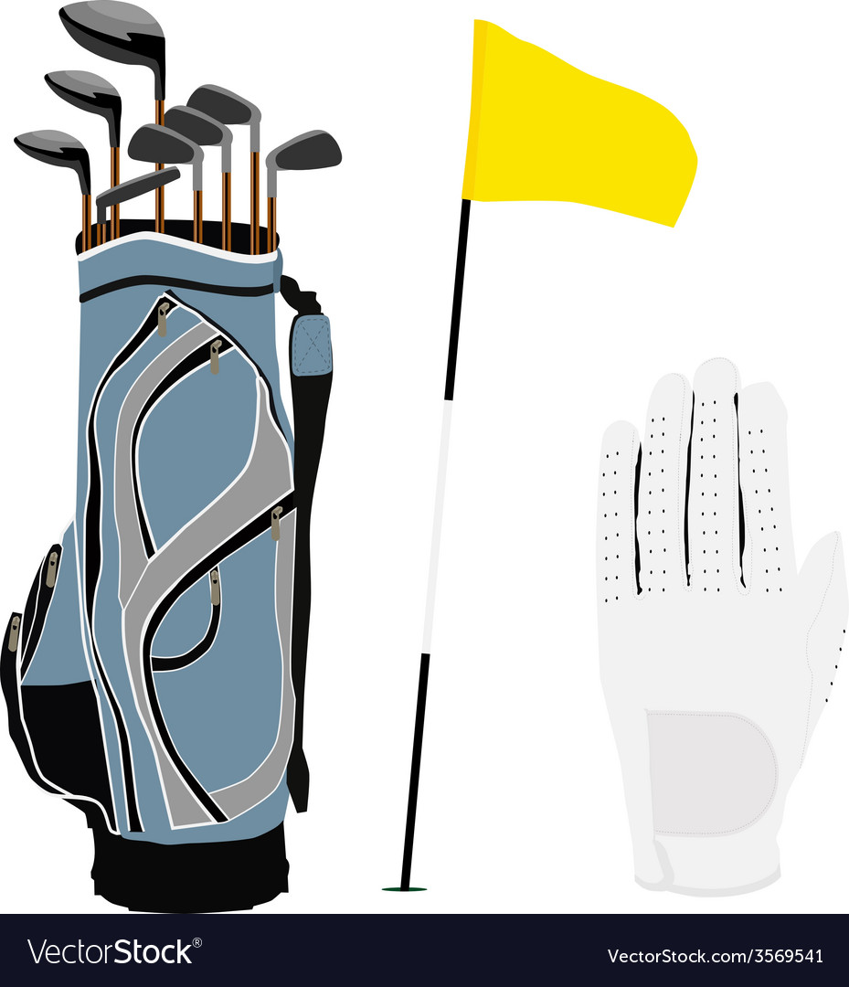 Golf clubs bag flag and white glove