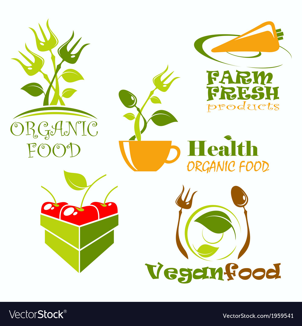 Icons And Symbols For Organic Food Royalty Free Vector Image
