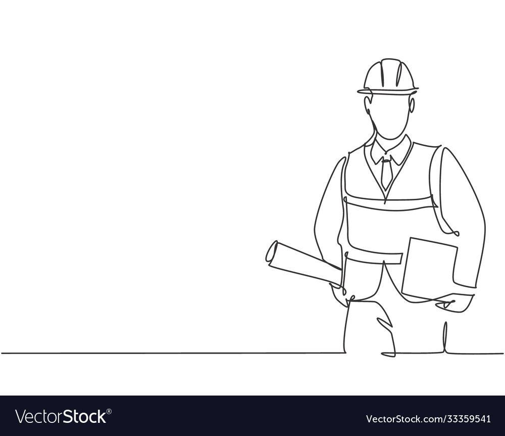 One single line drawing young architect