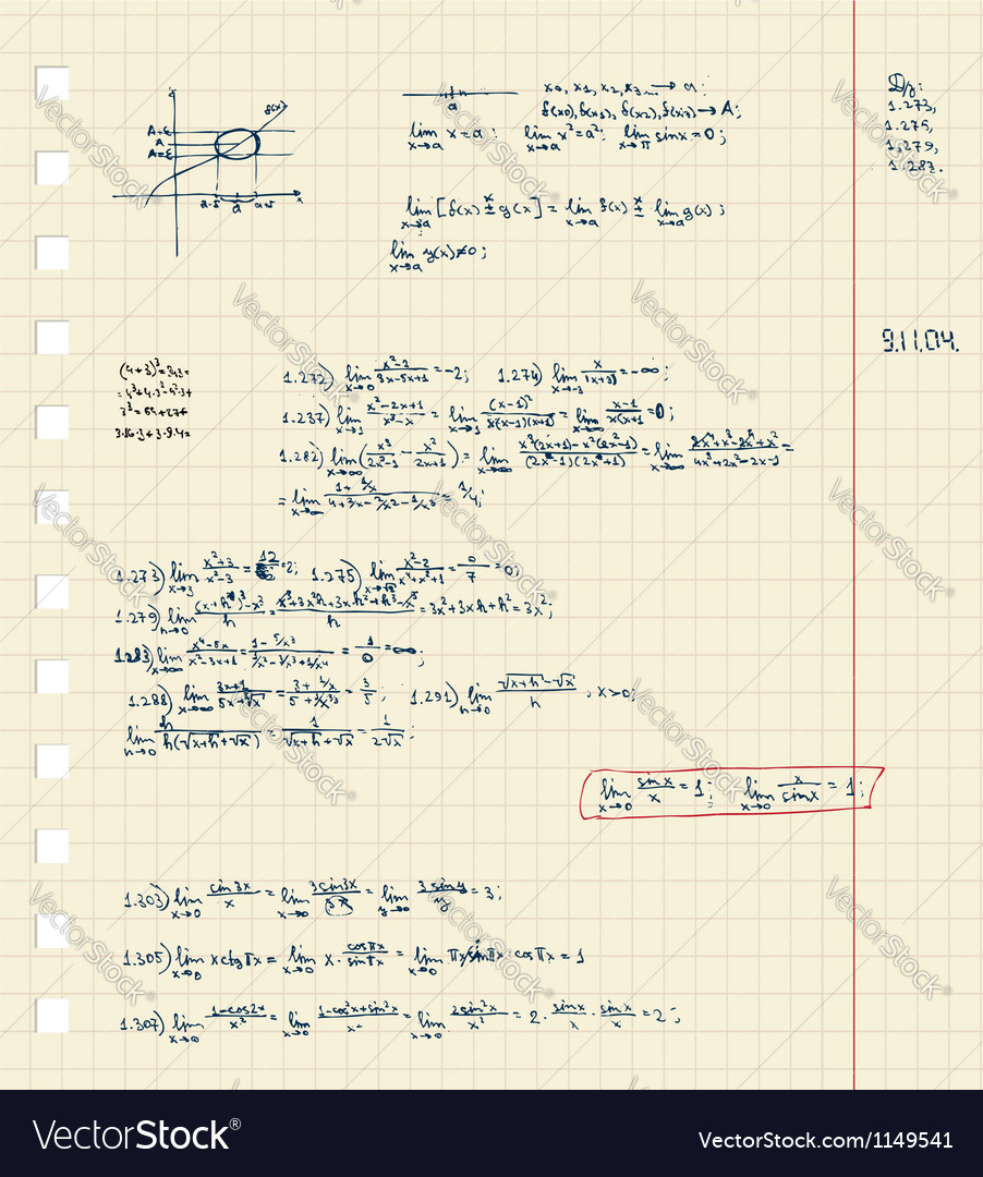 Sheet of notebook with maths lecture