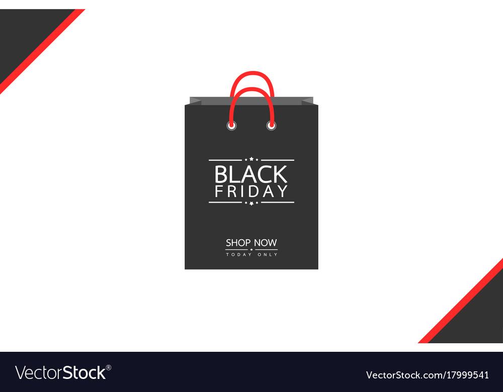 Shopping bag - black friday sale concept vector image
