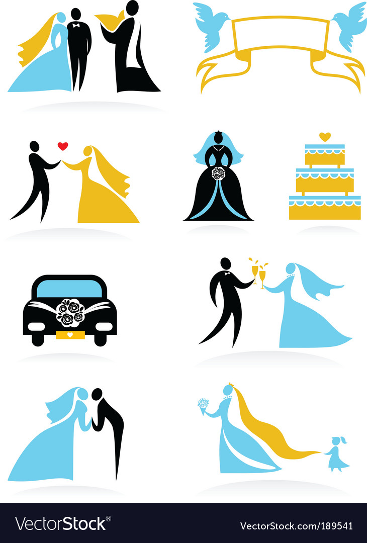 Wedding people silhouettes set