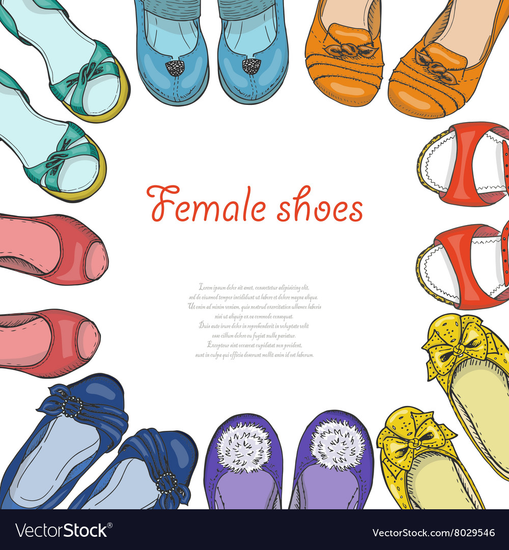 cb0318b4e310 Background with women shoes in circle Royalty Free Vector
