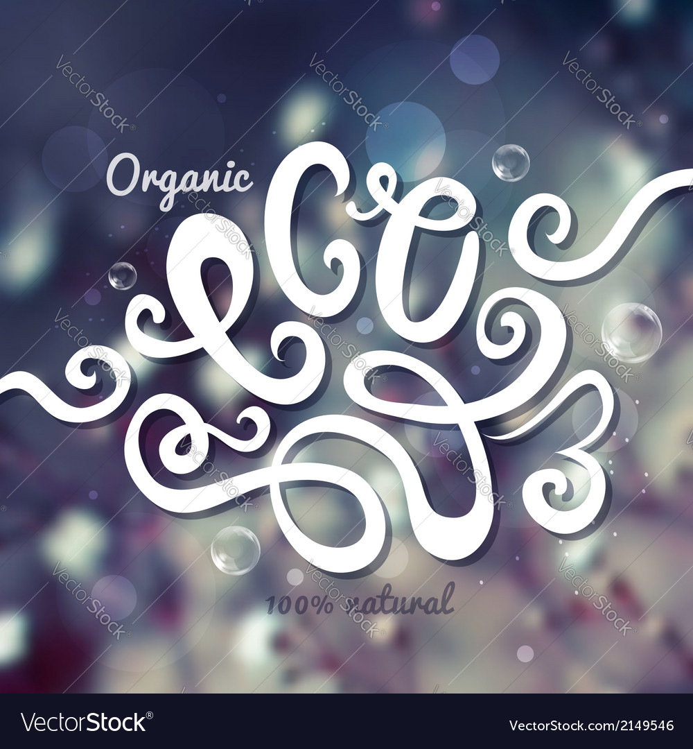 Blurred background Eco hand lettering vector image