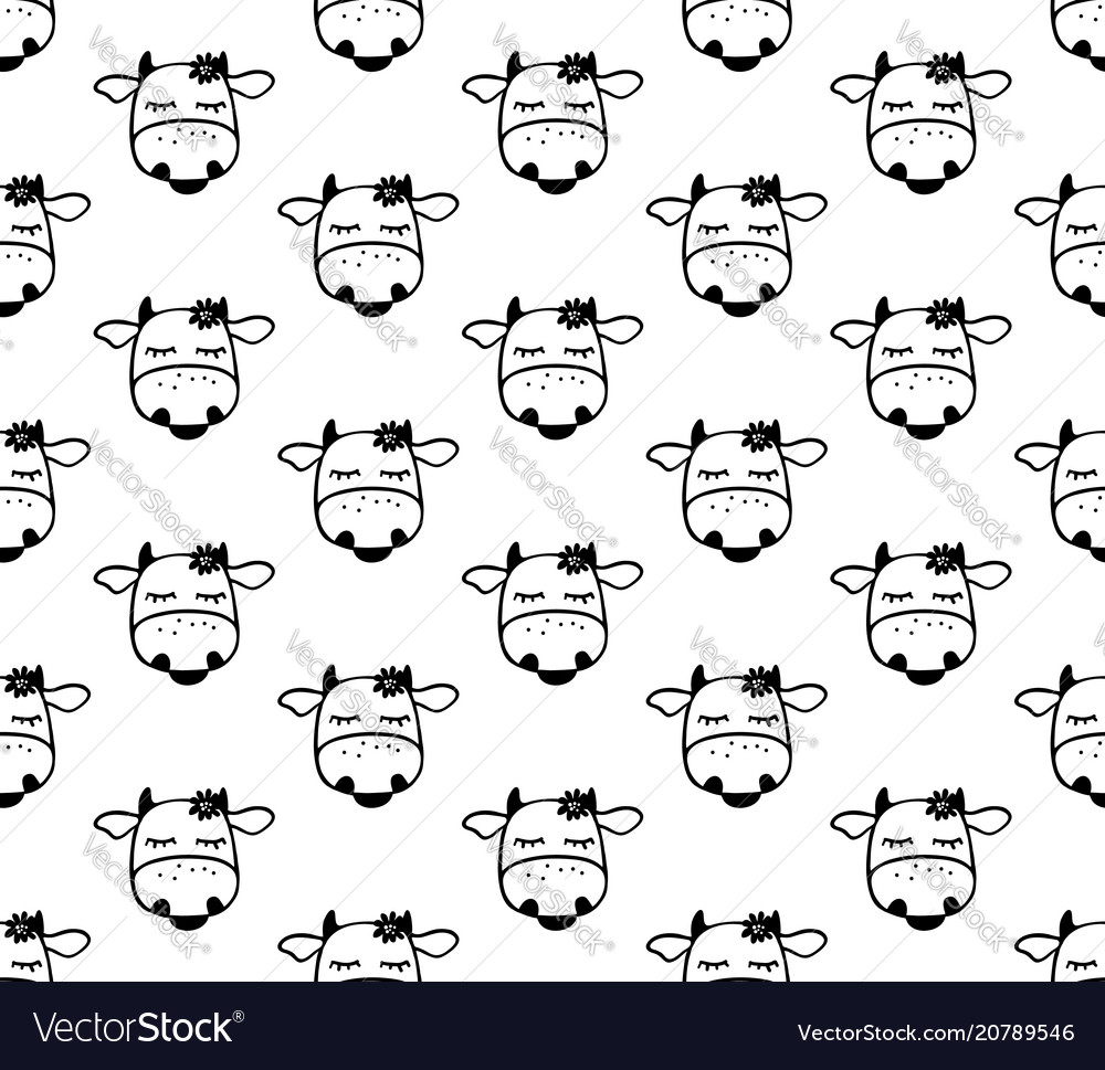 Doodle cartoon seamless pattern with cows black