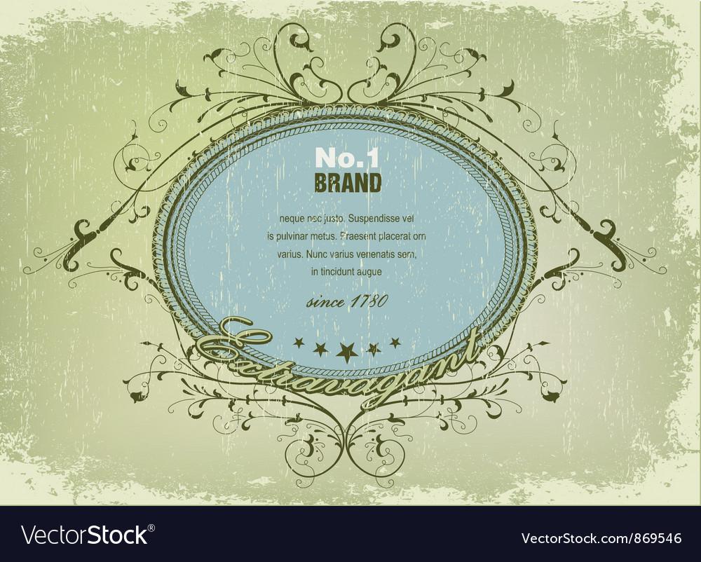 Elegant label with grunge background