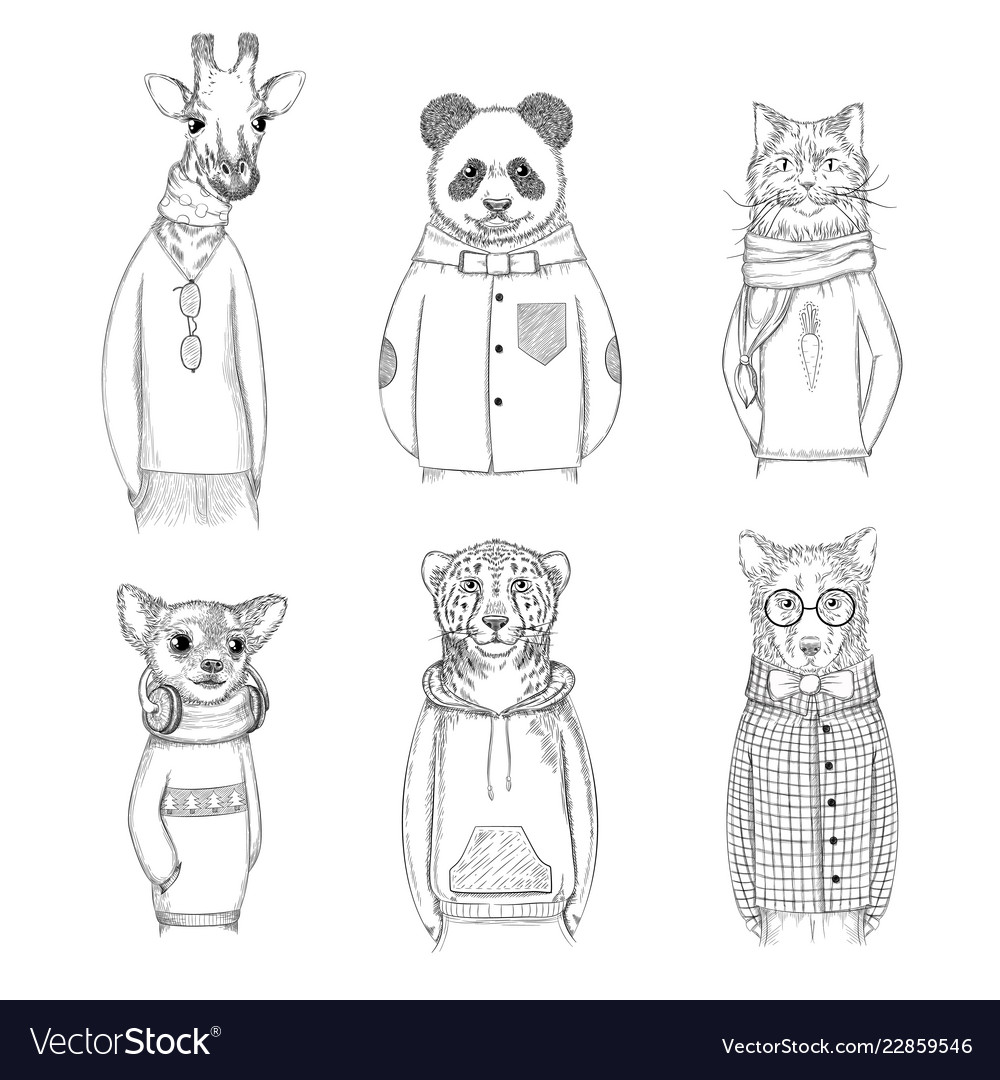 Fashion animal characters hipster hand drawn