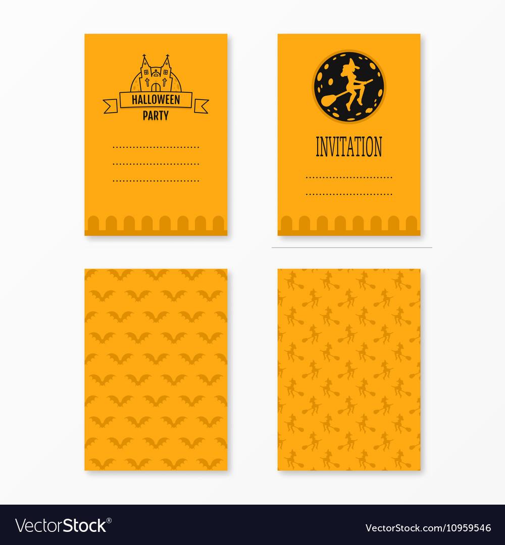 Happy halloween invitations set templates with