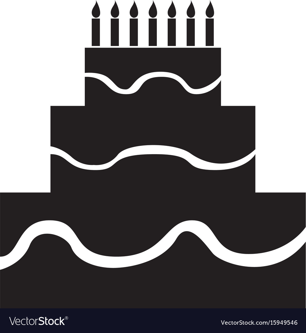 Isolated birthday cake silhouette