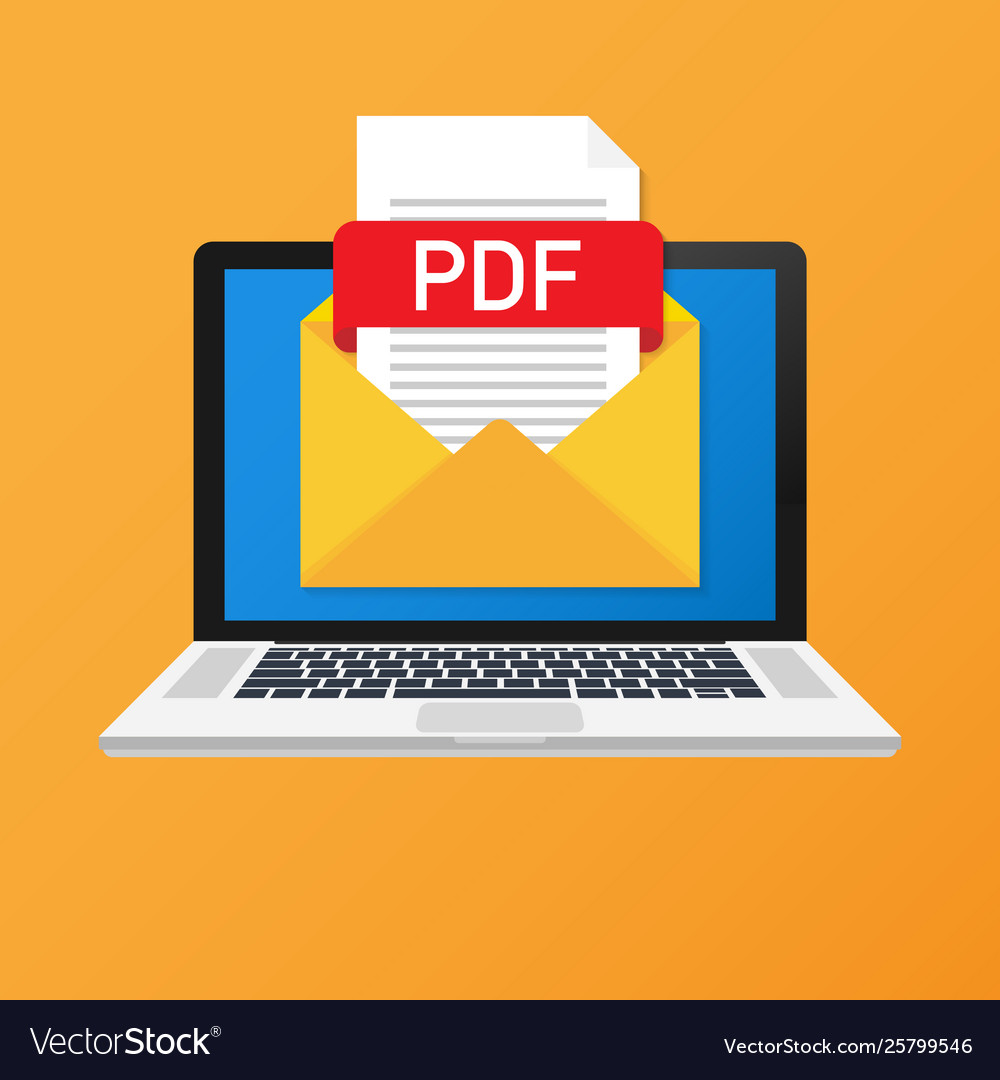 Laptop with envelope and pdf file notebook and