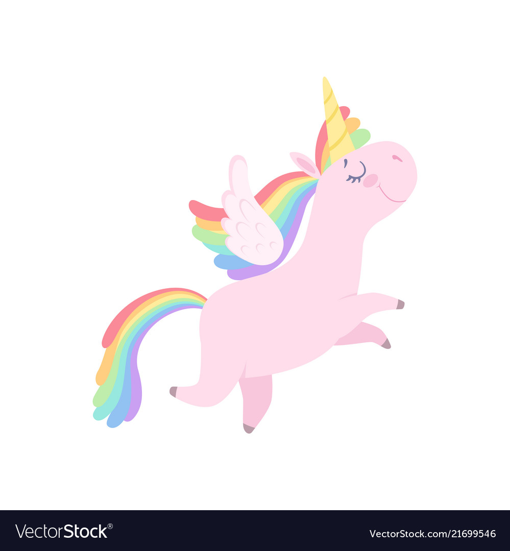 Lovely unicorn flying with wings cute fantasy