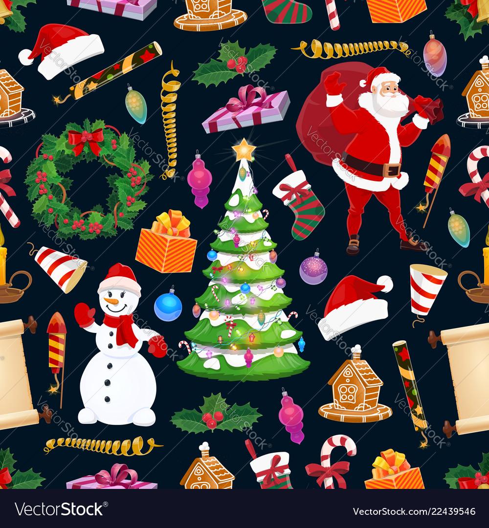 Merry christmas seamless pattern winter holiday