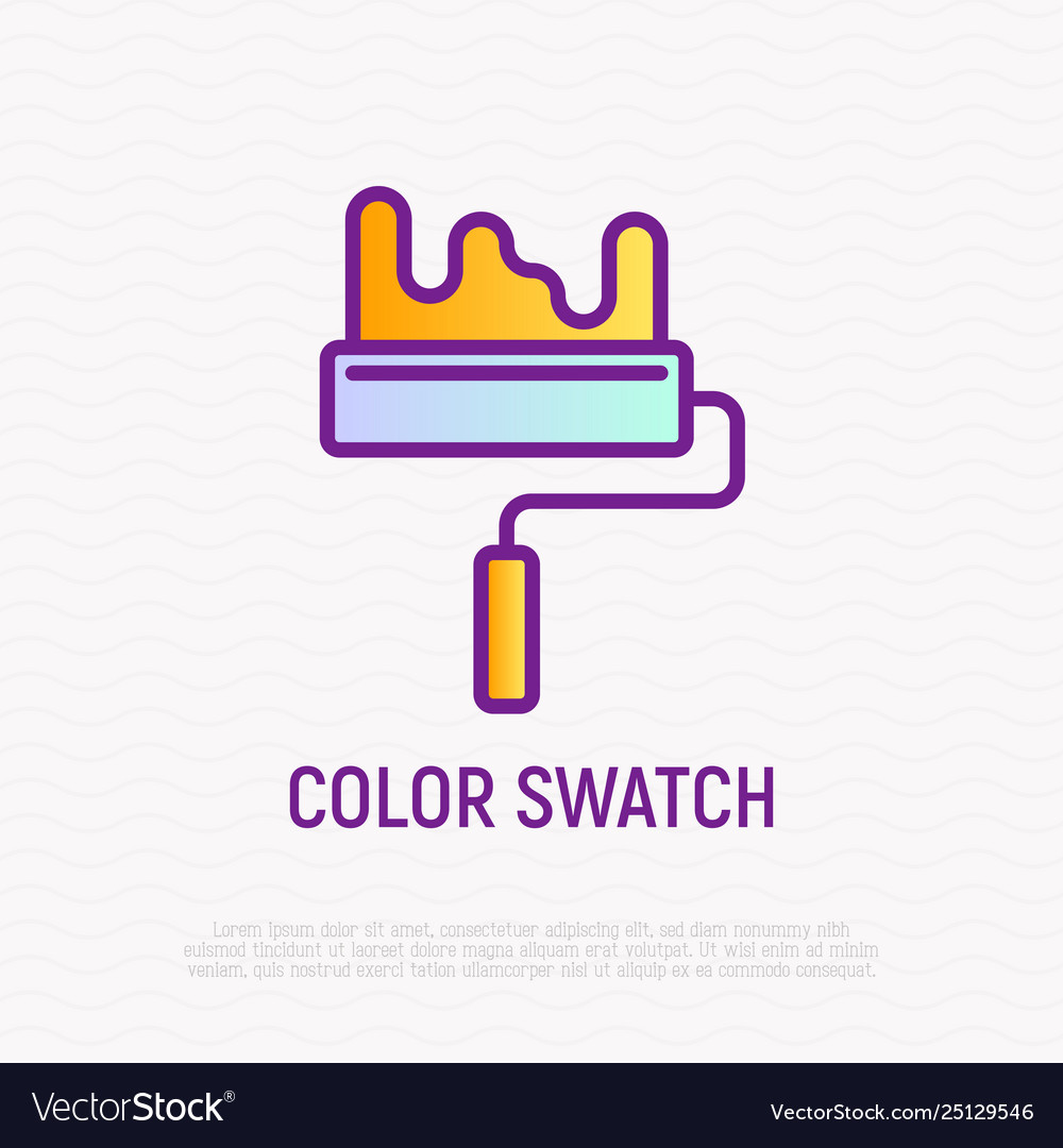 Paint roller thin line icon