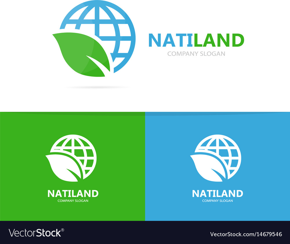 Planet and leaf logo combination world vector image