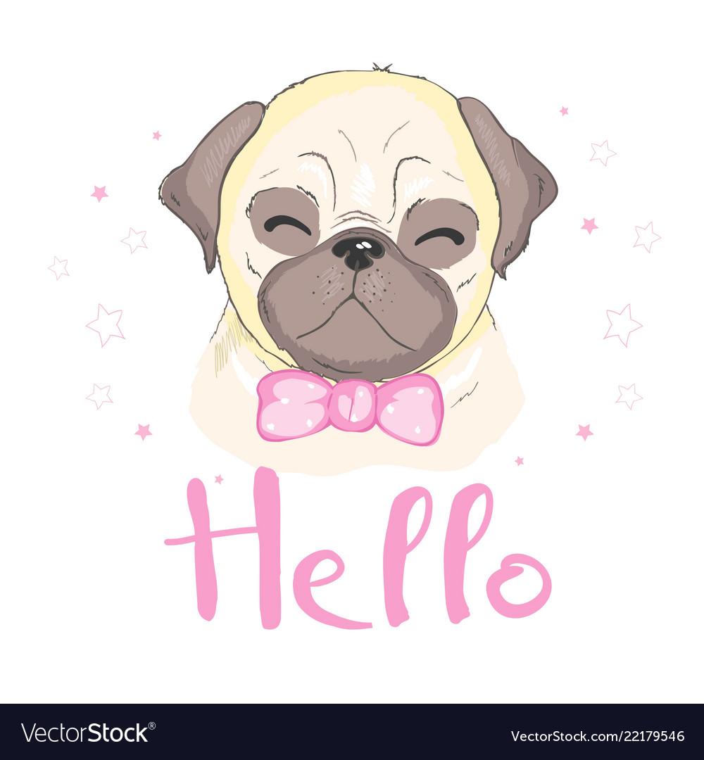 Pug dog cartoon cute friendly fat chubby fawn