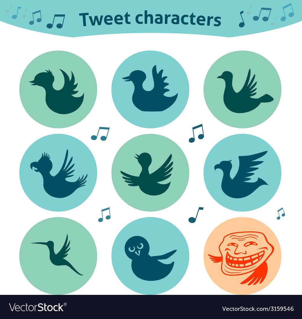 Round internet icons of tweet birds social media