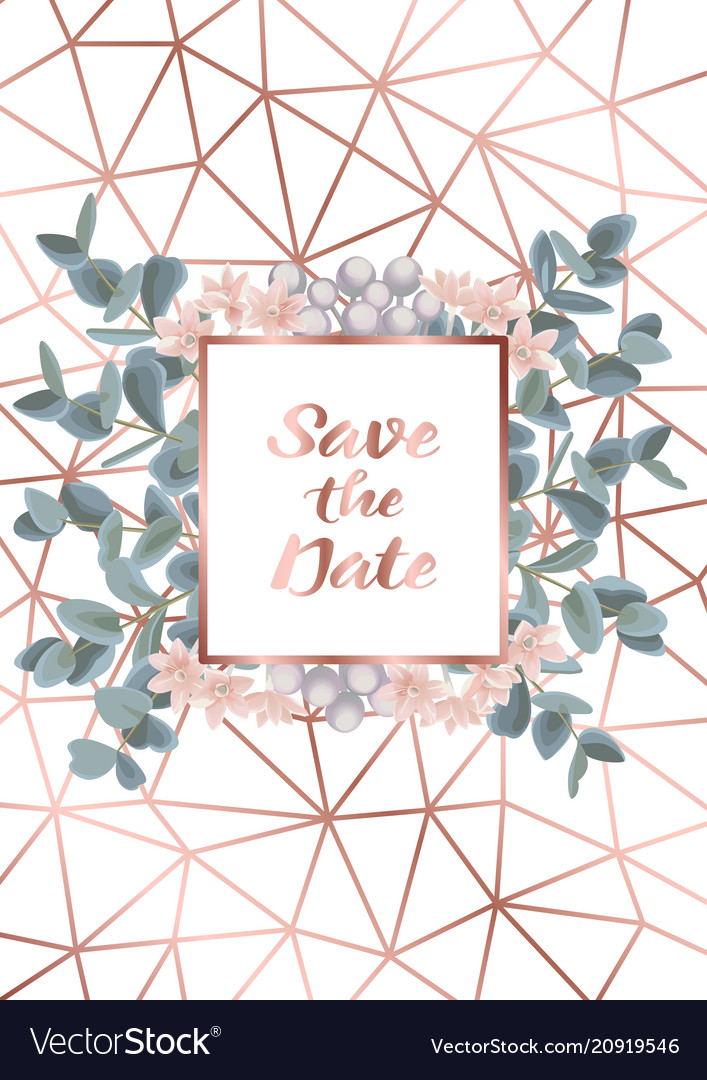 Save the date card with eucalyptus and flowers