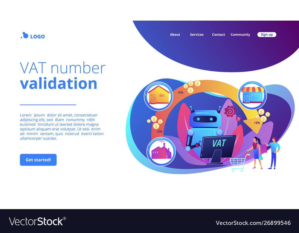 Value Added Tax System Concept Landing Page
