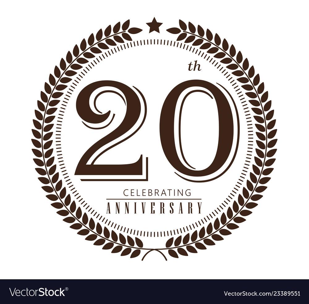 20th anniversary celebrating logo on white