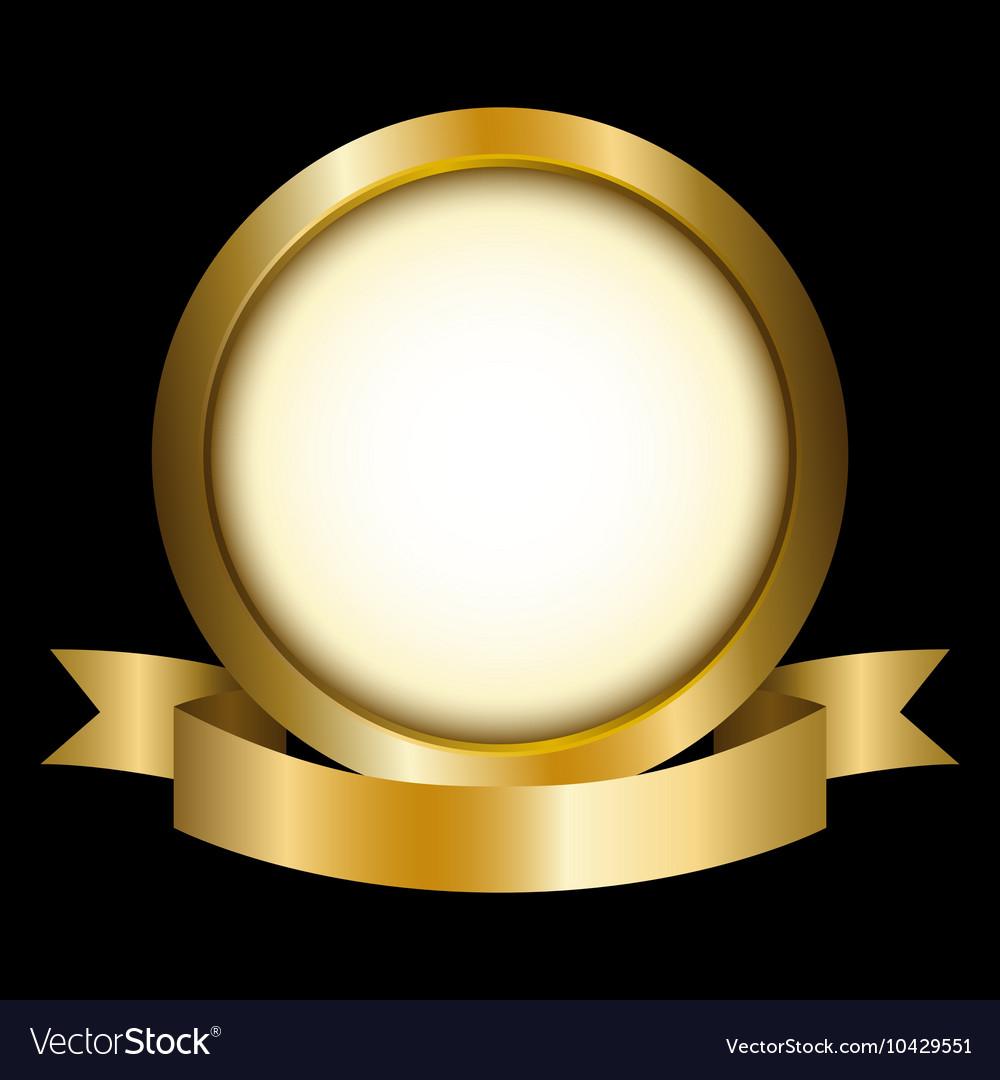 A gold circle with ribbon emblem