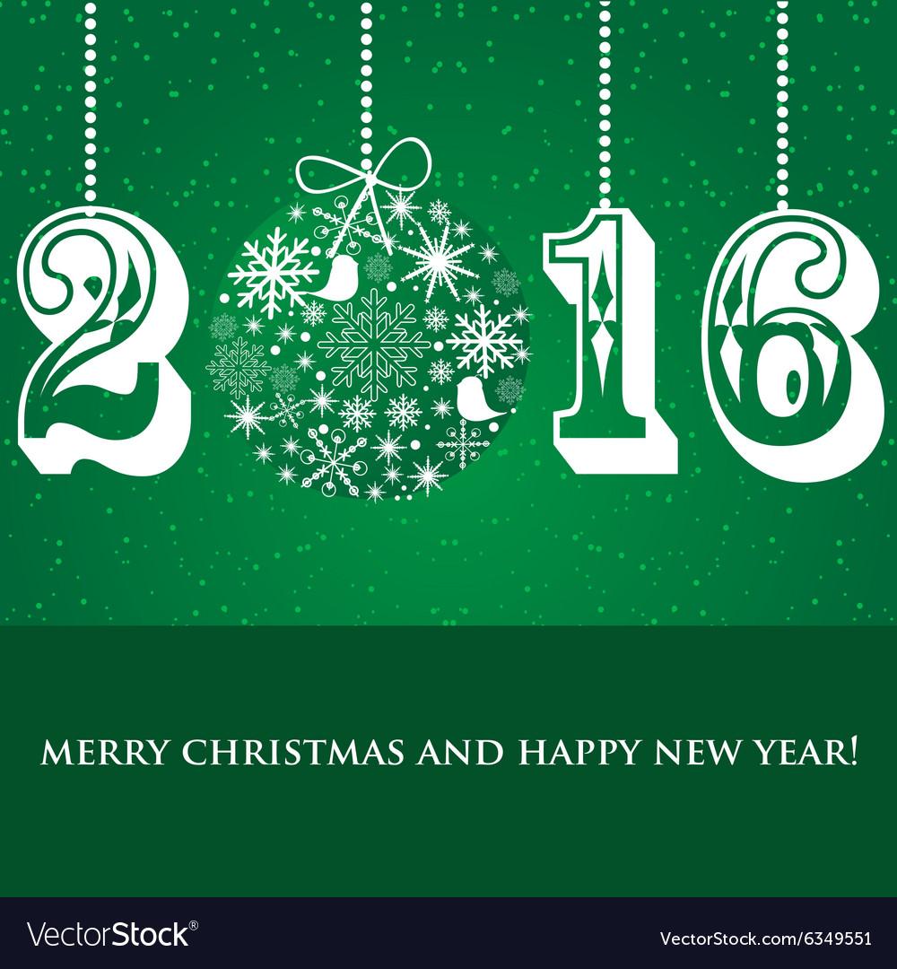 Christmas Snowflakes ball and numbers 2016 on