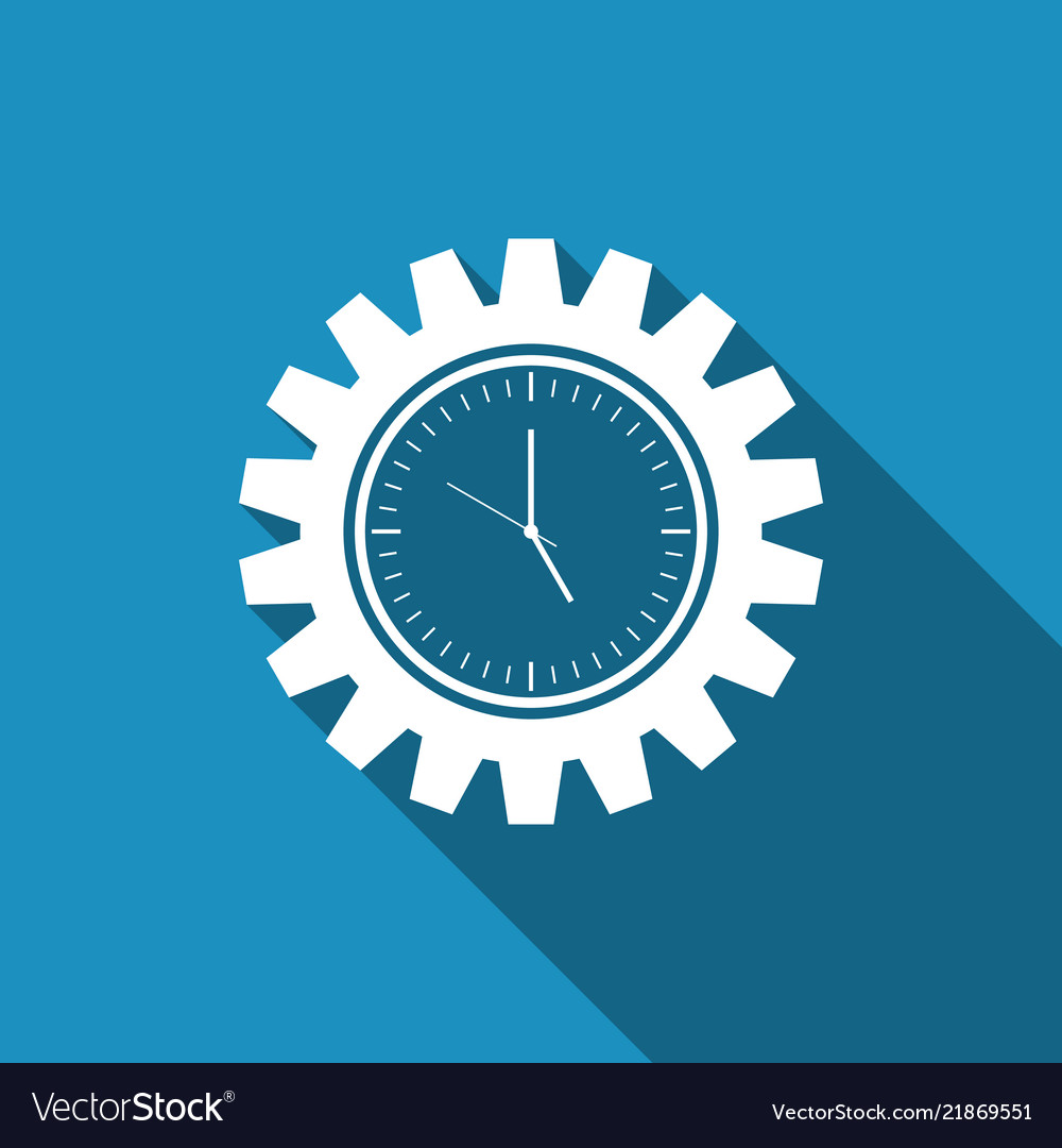 Clock gear icon time management symbol