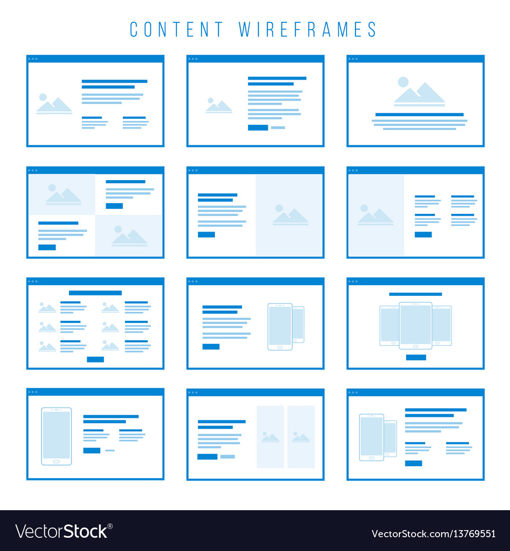 Content wireframe components for prototypes
