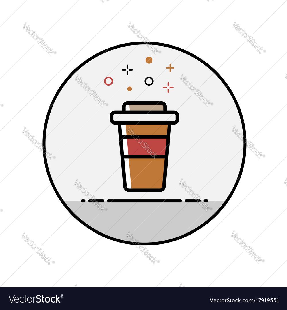 Flat line coffee icon