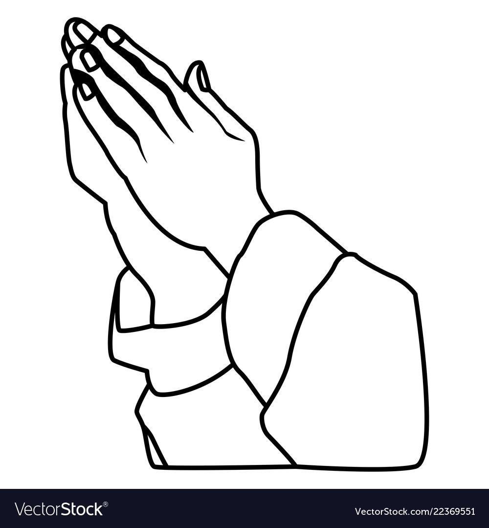 hands praying sign royalty free vector image vectorstock