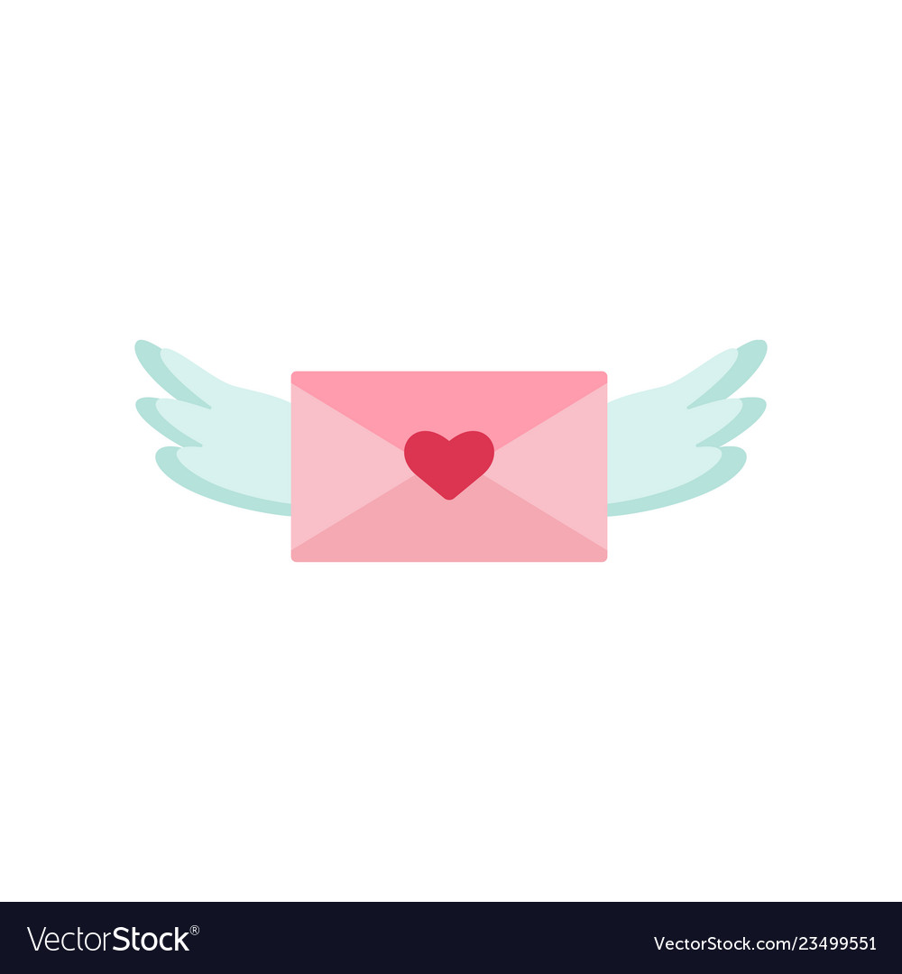 Love letter with wings icon valentine s day