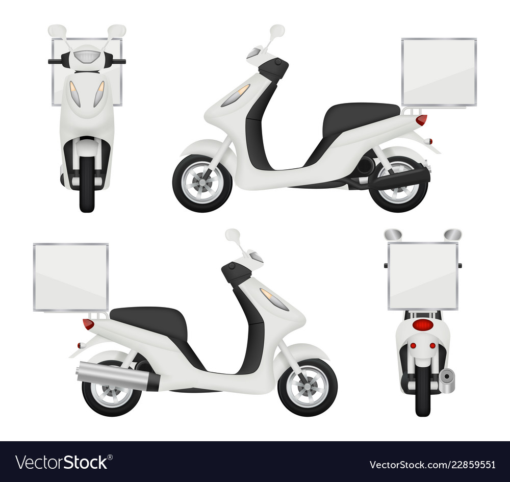 Moto bike realistic views of scooter for delivery