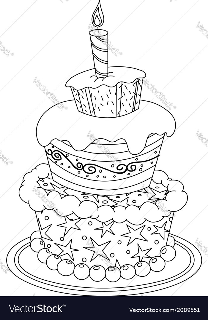 Outlined Birthday Cake Royalty Free Vector Image