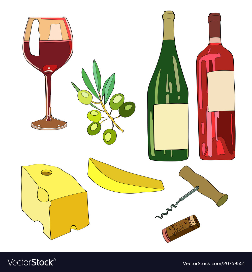 Set wine a glass of wine a vector image