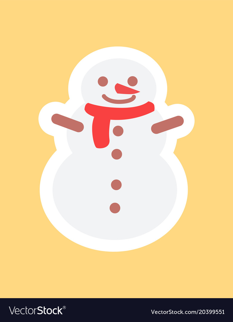 Snowman in cute red scarf funny sticker