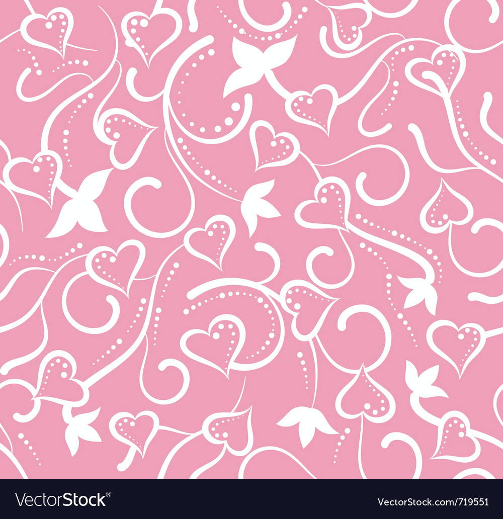 Valentines day pink floral seamless with hearts vector image mightylinksfo