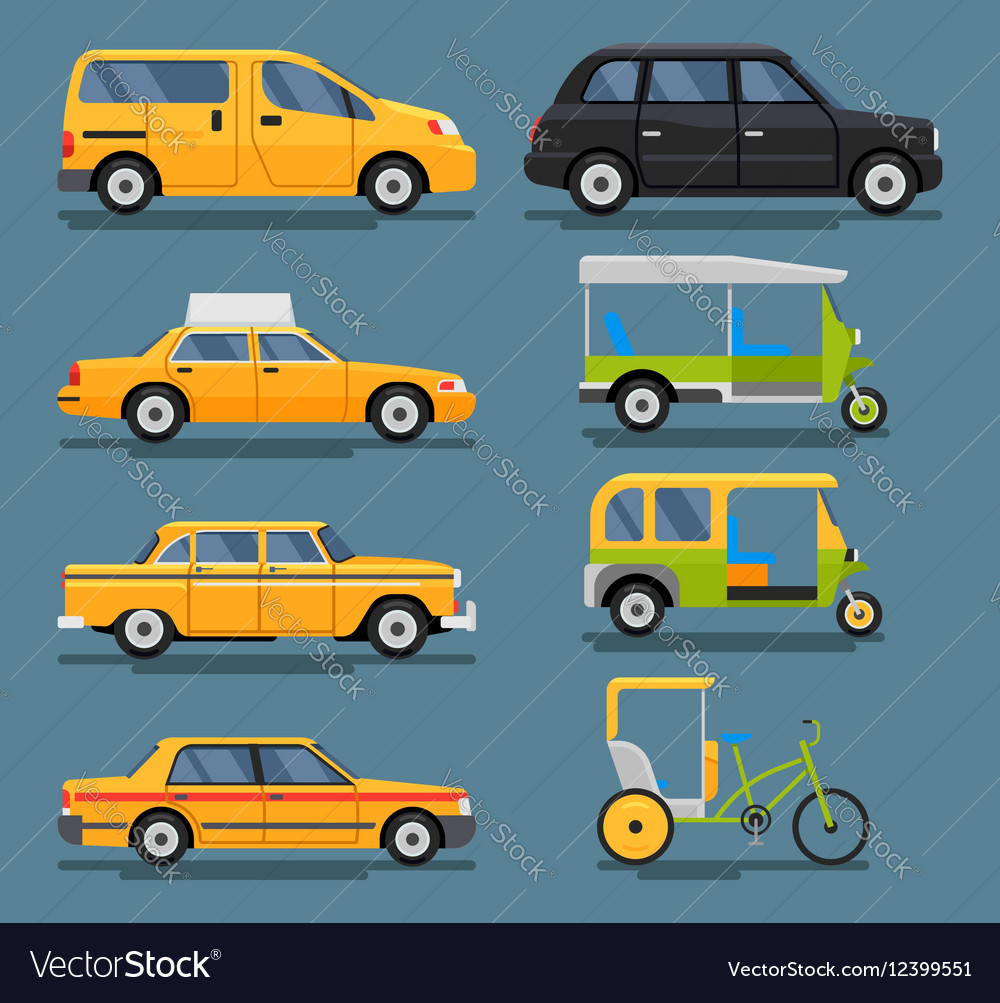 Various city urban traffic vehicles icons