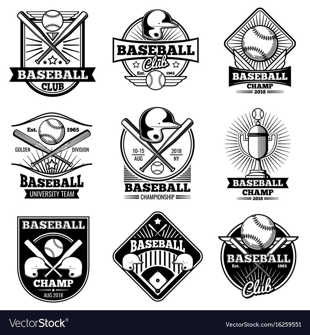 Vintage baseball labels and emblems
