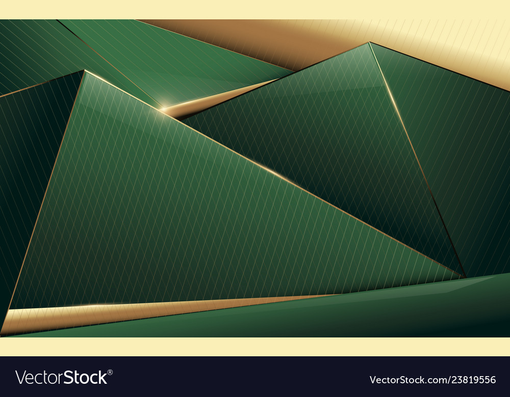 Abstract polygonal pattern luxury green and gold