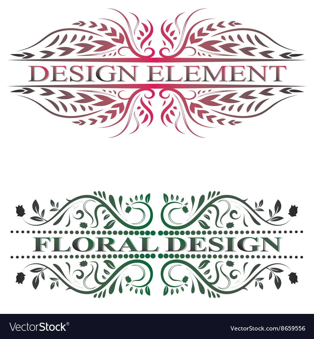 Beautiful floral banners with swirls
