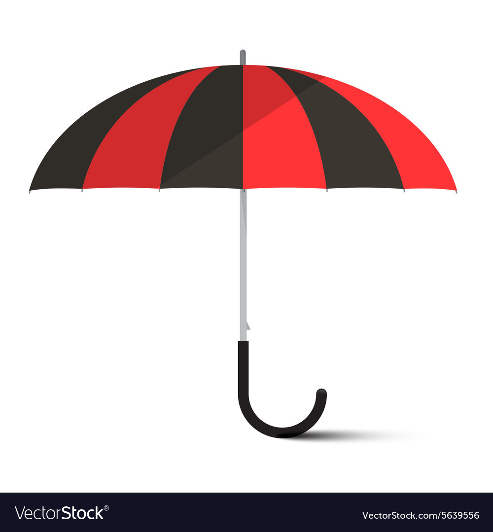 Black And Red Umbrella Parasol Isolated On Vector Image