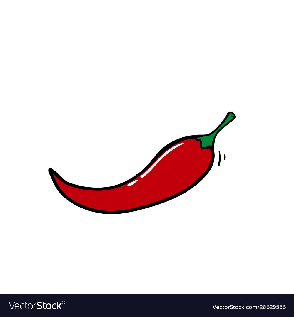Doodle fresh red hot chili pepper